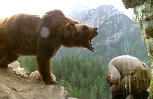 Karhu uhkaa metsästäjää