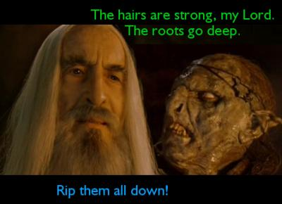 "Saruman ja örkki. Örkki katselee Sarumanin päätä ja sanoo: ""The hairs are strong, my Lord. The roots go deep."" Saruman sanoo: ""Rip them all down!"""