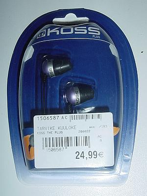 Kossin The Plug -kuulokkeet pakkauksessaan