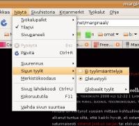 Firefoxin tyylimäärittelyalivalikko: Näytä - Sivun tyylit - Ei tyylimäärittelyjä