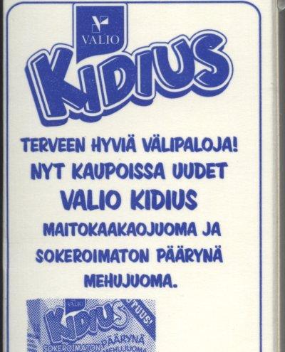 Valio Kidius. Terveen hyviä välipaloja! Nyt kaupoissa uudet Valio Kidius maitokaakaojuoma ja sokeroimaton päärynä mehujuoma.