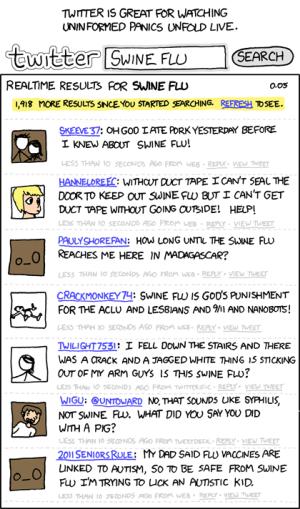 XKCD: Levottomuutta herättäviä swine flu -haun tuloksia Twitterissä
