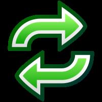Kaksi toistensa kantoihin osoittavaa vihreää nuolta