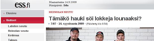 ESS.fi: Tämäkö hauki söi lokkeja lounaaksi?