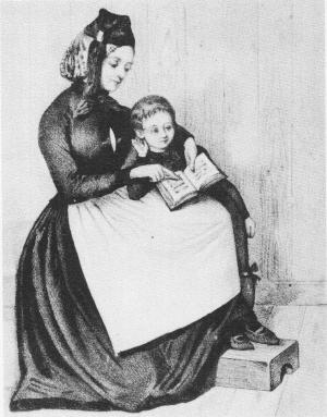 Nainen opettaa lasta lukemaan