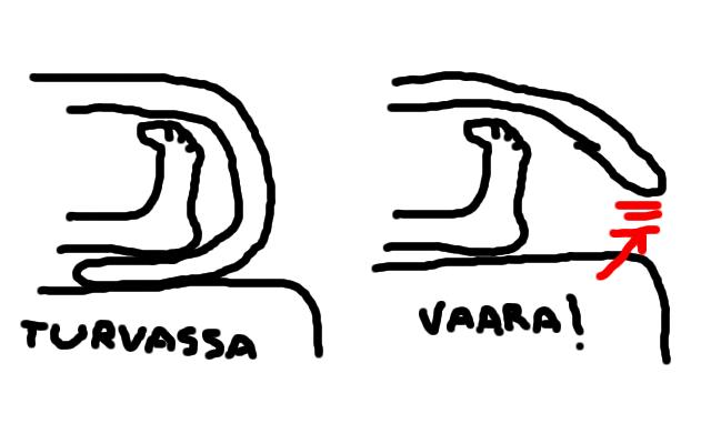 """Kaksi piirroskuvaa jaloista peiton alla. 1. kuvassa (""""turvassa"""") peitto taipuu jalkojen alle, 2. kuvassa (""""vaara!"""") ei."""