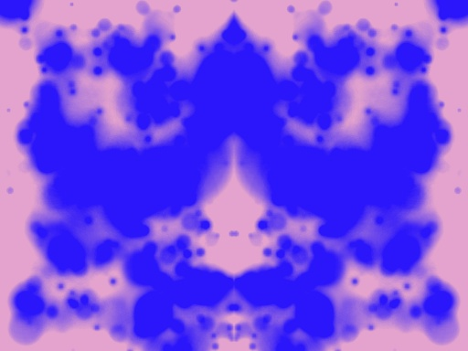 Symmetrinen sininen musteläiskä vaaleanpunaisella taustalla