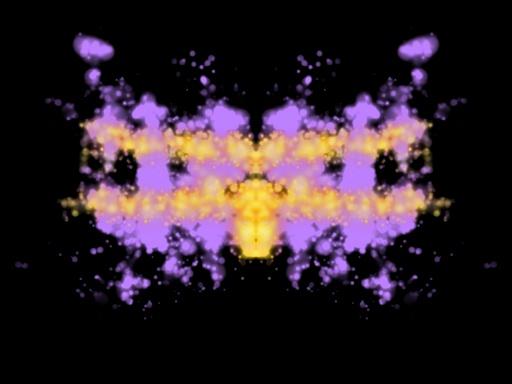 Symmetrinen lilakeltainen musteläiskä mustalla taustalla