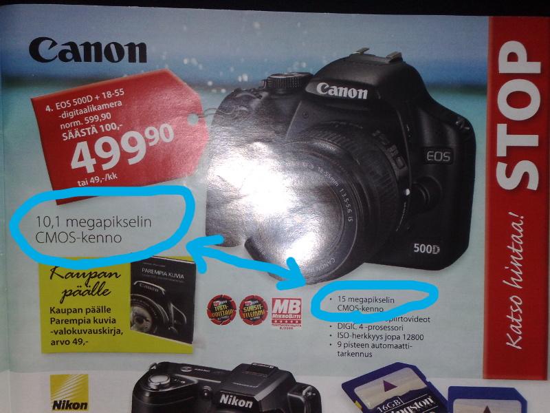 """Canon 500D Netanttilan lehdessä. Nostossa """"10,1 megapikselin CMOS-kenno"""", ominaisuusluettelossa """"15 megapikselin CMOS-kenno"""""""