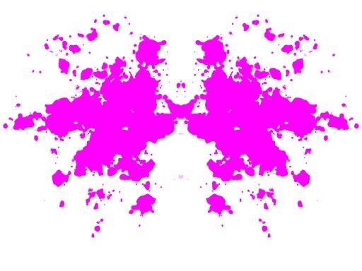 Symmetrinen purppuranpunainen musteläiskä