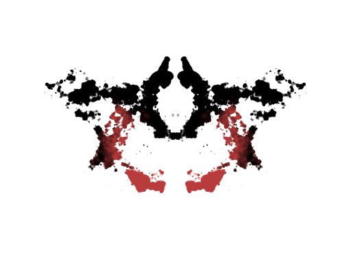 Symmetrinen punamusta läiskä (edellinen ylösalaisin)