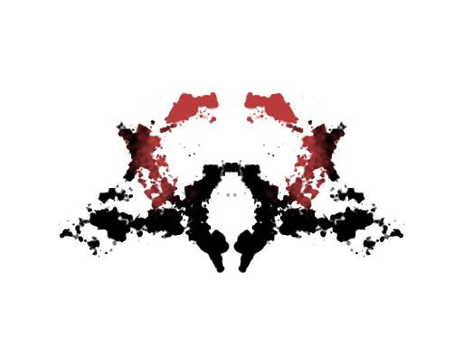 Symmetrinen punamusta musteläiskä