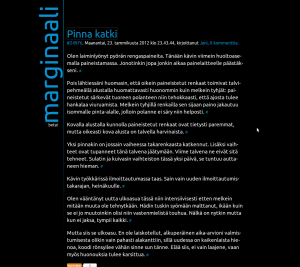 Kuvakaappaus marginaalin etusivulta: mustalla taustalla valkoista tekstiä, sininen kallistettu marginaali-logo