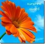 Oranssi kehäkukan kukinto, oikeassa yläkulmassa teksti sunshine award