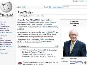 Wikipedia-artikkeli, jonka kuvituksena Birminghamin kaupunginvaltuuston avoimella lisenssillä julkaisema kuva
