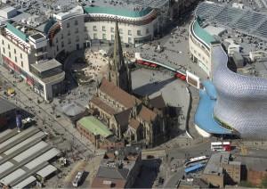 Ilmavalokuva Birminghamin Bull Ringistä