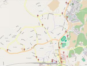 Kävelyreittini pisteinä Kirkkonummen kartalla.