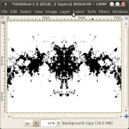 A Rorschach test -like inkblot in GIMP