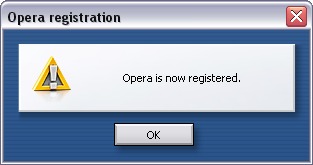 Opera is now registered.